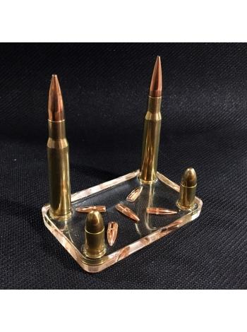 Підставка для візиток з ММГ патронів 9х19 Luger, .30-06 і куль .223