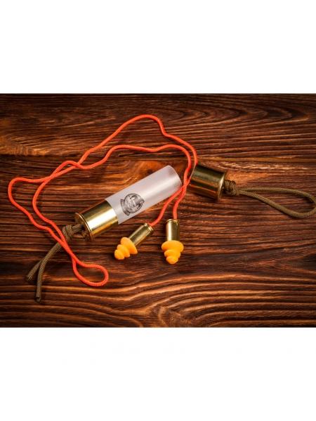 Беруші з гільз 9x19 Luger в контейнері з гільзи 12к / помаранчевий шнурок