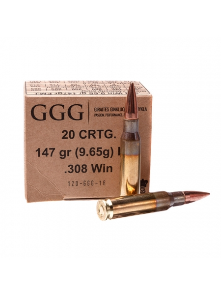 Набій нарізний GGG .308 Win (7.62х51) FMJ / 9.65 г, 147 gr
