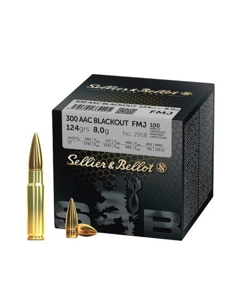 Набій нарізний Sellier&Bellot .300 AAC Blackout (7.62x35) FMJ / 8 г, 124 gr