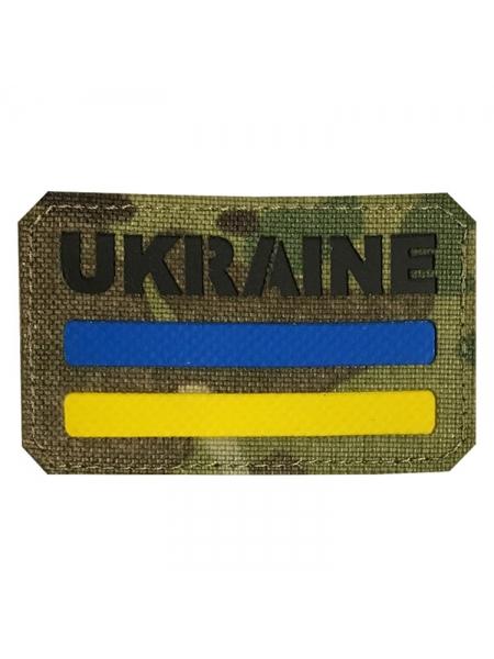 Шеврон UKRAINE з прапором України, 80х40 мм