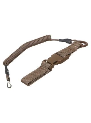 Шнур кручений страхувальний з кріпленням фастекс і карабіном / колір: койот