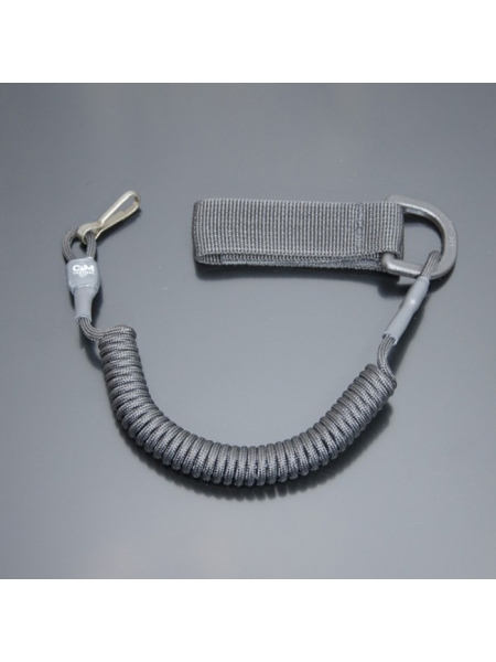 Шнур кручений страхувальний з поясним кріпленням QD і карабіном / колір: чорний