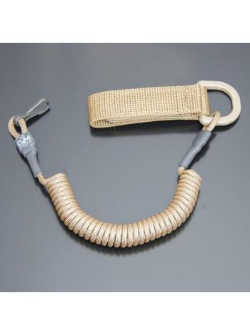 Шнур кручений страхувальний з поясним кріпленням QD і карабіном / колір: койот
