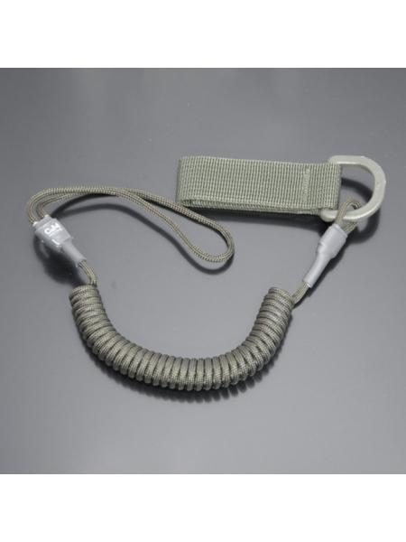 Шнур кручений страхувальний з поясним кріпленням QD і м'якою петлею / колір: олива