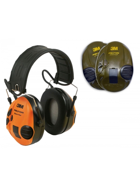 Навушники активні стрілецькі 3M Peltor SportTac, зелені/помаранчеві