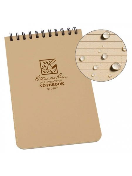 Блокнот всепогодний Rite in the Rain Top-Spiral Notebook №946T Tan