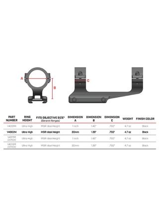 Кронштейн-моноблок Warne Vapor MSR Ultra High, 30 мм