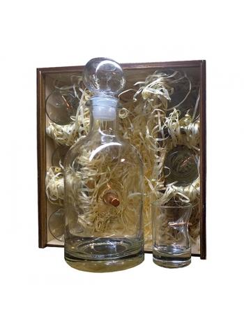 Набір чарок зі справжньою кулею (6 шт.) та графін в подарунковій коробці