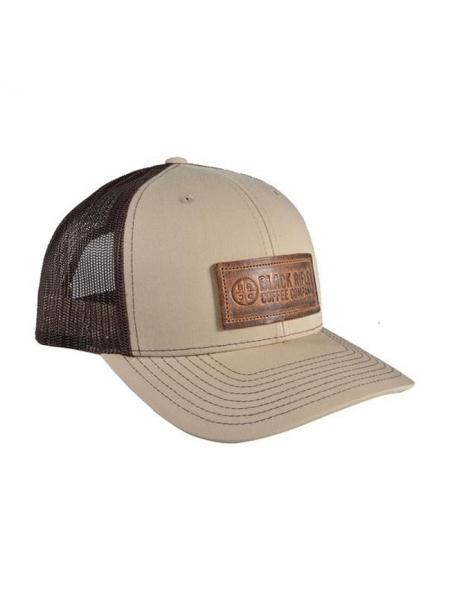 Кепка Black Rifle Coffee Company Leather Patch Trucker Hat – Tan w/Brown Mesh